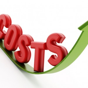 Rising costs text on the arrow