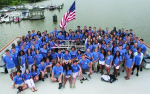 Georgia youth are pictured above sporting their Georgia Grown shirts for a cruise on the Potomac River during the 2018 Washington Youth Tour. (Photo by Byron McCombs)